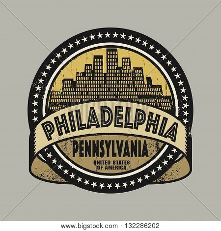 Grunge rubber stamp or label with name of Philadelphia, Pennsylvania, vector illustration