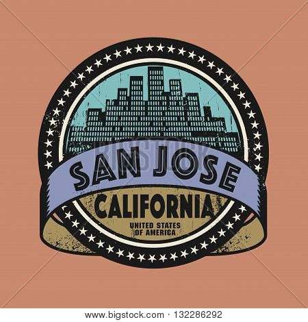 Grunge rubber stamp or label with name of San Jose, California, vector illustration