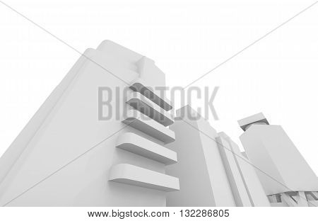 Cityscape Isolated Over White Background, 3D