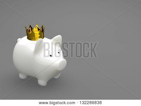 Porcelain Piggy Bank Golden Crown