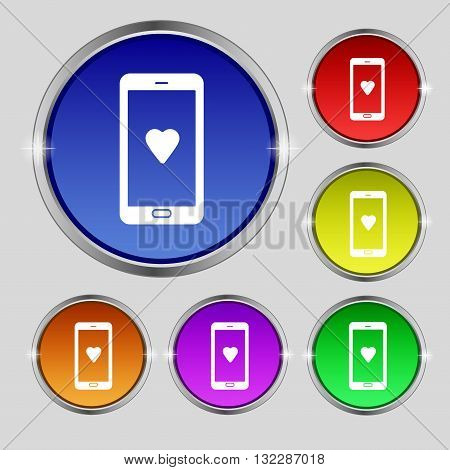 Love Letter, Valentine Day, Billet-doux, Romantic Pen Pals Icon Sign. Round Symbol On Bright Colourf