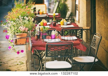 Typical small cafe in Tuscany, Italy