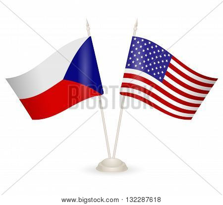 Table stand with flags of Chech and USA. Symbolizing the cooperation between the two countries.