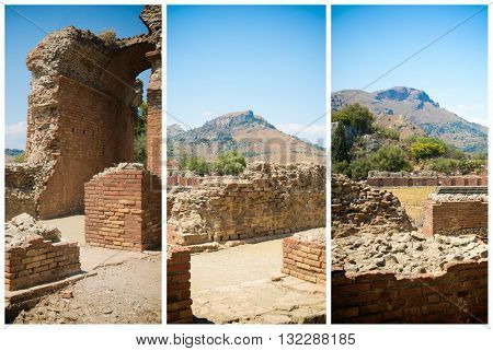 View on the scene of the ancient Greek theater in Taormina