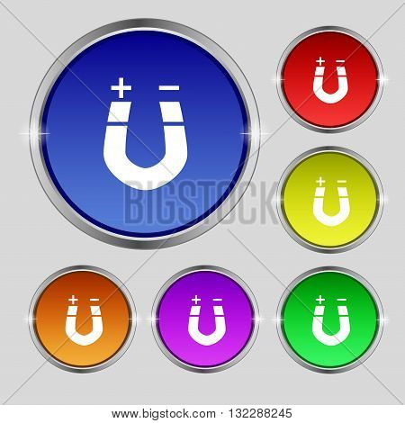 Horseshoe Magnet, Magnetism, Magnetize, Attraction Icon Sign. Round Symbol On Bright Colourful Butto