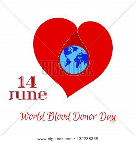 Vector Red Heart with Planet Earth and Blood Drop Inside. Element for the World Blood Donor Day and other medical projects and design. Red Heart Icon. Medical Blood Donation Design Elements.