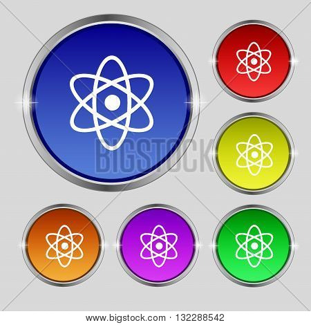 Atom, Physics Icon Sign. Round Symbol On Bright Colourful Buttons. Vector