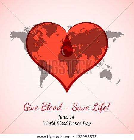 Vector Transparent Red Heart with Blood Drop over World Map. Element for the World Blood Donor Day and other medical projects and design. Red Heart Icon. Medical Blood Donation Design Elements.