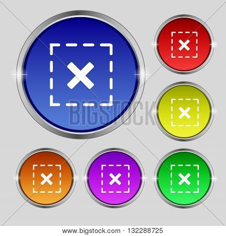 Cross In Square Icon Sign. Round Symbol On Bright Colourful Buttons. Vector