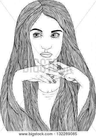 linear illustration woman portrait