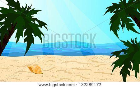 Oceanic coast. Beach and palm trees. Vector illustration.