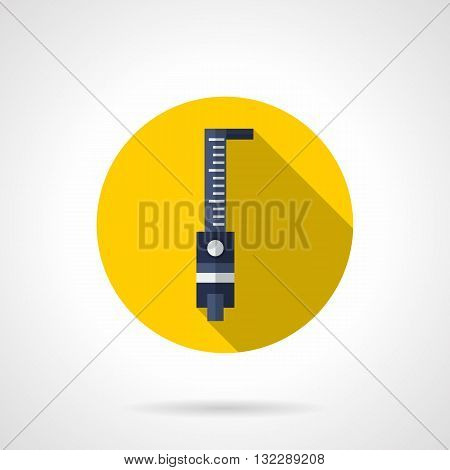 Construction tools theme. Measuring tape, roulette meter a top view. Store for construction, carpentry, repair works and other. Round flat color design vector icon with long shadow.