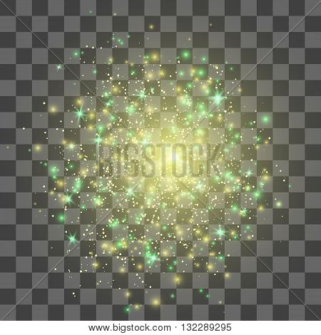 Glow light effect, Gold explosion,Lights on transparent background, Stardust explosion.