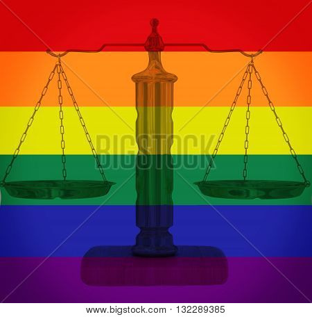 Scales of justice on a rainbow LGBT background -- gay rights concept