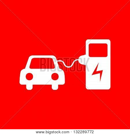Electric car battery charging sign. White icon on red background.