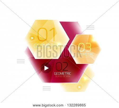 Colorful glass hexagon business infographic template, hexagon geometric web interface element