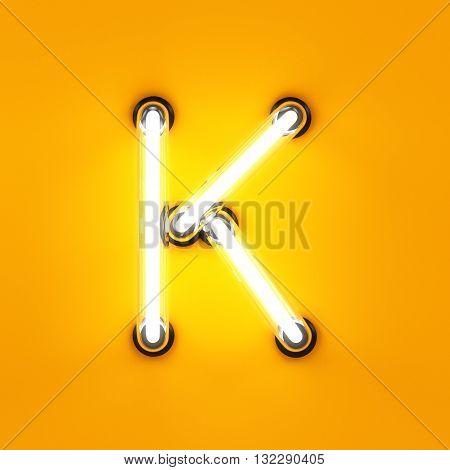 Neon Light Alphabet Character K Font