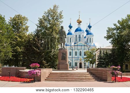 TAMBOV RUSSIA - July 02.2012: Monument to Red Army Zoya Kosmodemyanskaya on background Kazan friary
