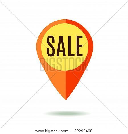 Mapping pin with Sale Sign. Red Color. Isolated on White