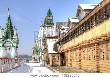 MOSCOW RUSSIA - March 24.2012: Stylized antique towers of the Kremlin in Izmailovo