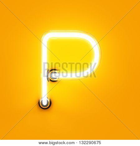 Neon Light Alphabet Character P Font