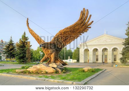 ORYOL RUSSIA - May 15.2012: Huge bird eagle on the forecourt. The symbol of the city