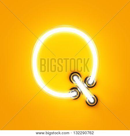 Neon Light Alphabet Character Q Font