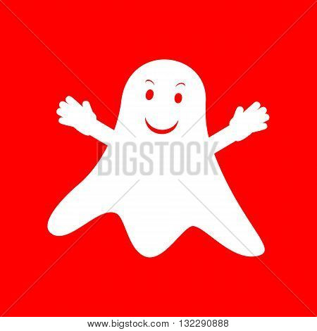 Ghost isolated sign. White icon on red background.