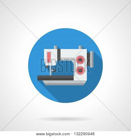 Electric sewing equipment for garment factory, workshops and studio. Appliances store button. Sewing machines and overlocks. Round flat color design vector icon with long shadow.