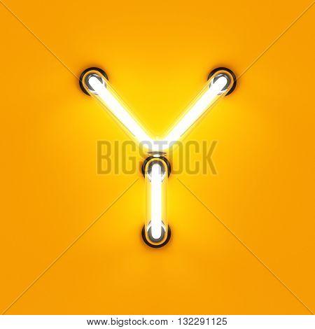 Neon Light Alphabet Character Y Font
