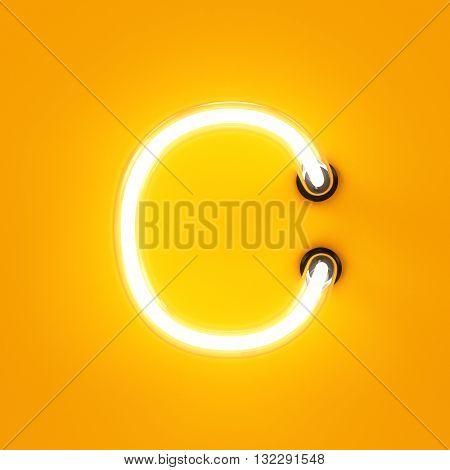 Neon Light Alphabet Character C Font