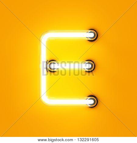 Neon Light Alphabet Character E Font