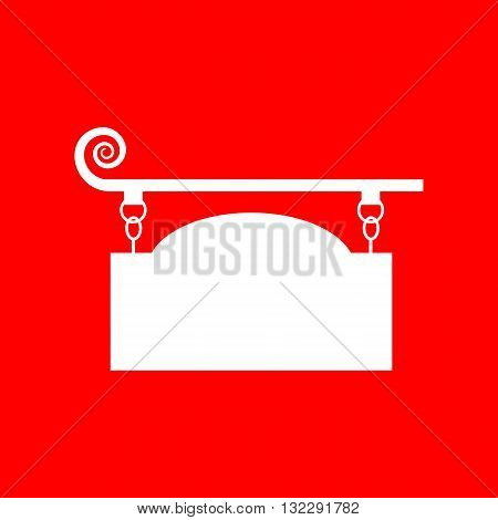 Wrought iron sign for old-fashioned design. White icon on red background.