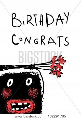 Cartoon ugly character hand drawn. Doodle cute monster birthday congrats, vector drawing illustration cartoon.