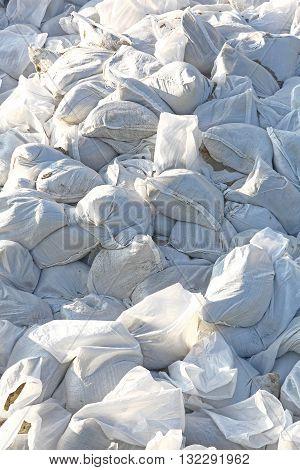Big Pile of Sandbags for Disaster Protection
