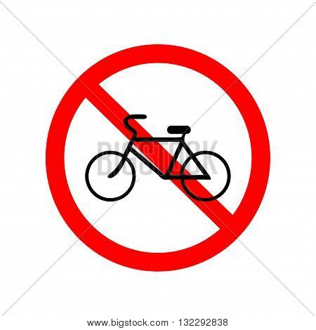 No bicycle, bike prohibited symbol. Sign indicating the prohibition or rule. Warning and forbidden. Flat design. Vector illustration.