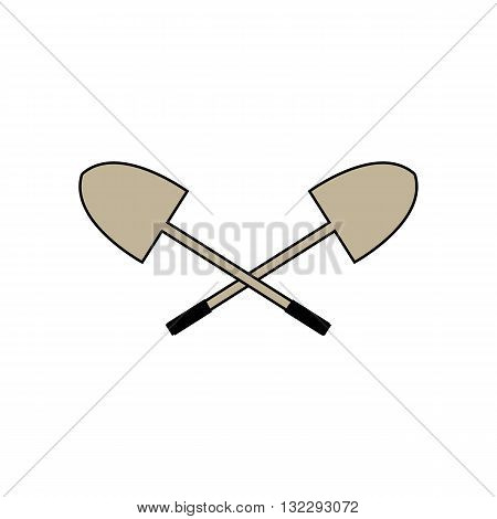 Two shovels with black black grip vector illustration isolated on white background.