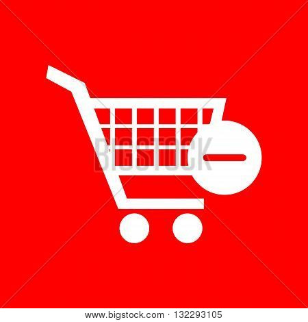 Vector Shopping Cart with Remove sign. White icon on red background.