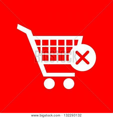 Shopping Cart with delete sign. White icon on red background.