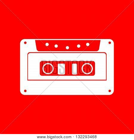 Cassette icon, audio tape sign. White icon on red background.