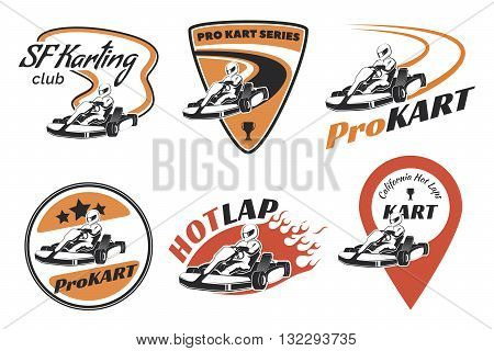 Set of kart racing emblems logo and icons.Vector illustration with karting elements. Kart racer with helmet.