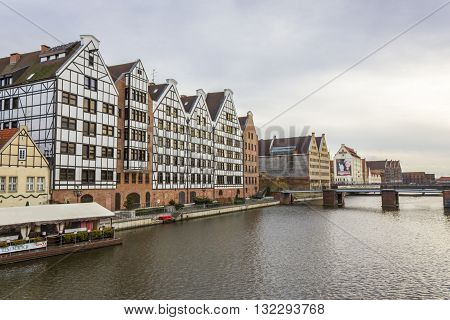 GDANSK, POLAND - NOVEMBER 13: Historic granaries along the Motlawa river on November 13, 2010 in Gdansk.