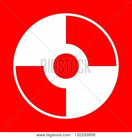 Vector CD or DVD sign. White icon on red background.