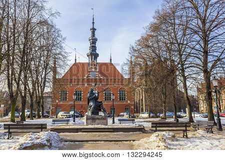 GDANSK, POLAND - JANUARY 30: Statue of eminent astronomer Johannes Hevelius on January 30, 2011 in Gdansk.
