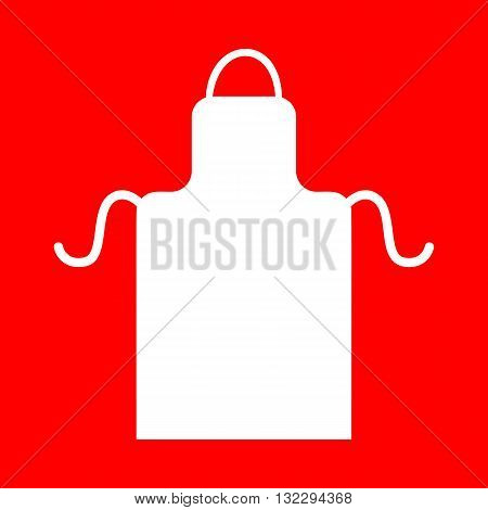 Apron simple sign. White icon on red background.