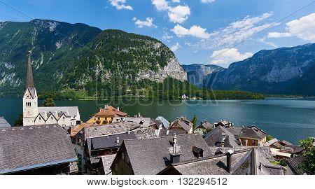 View to the Hallstatt, picturesque village in Austria