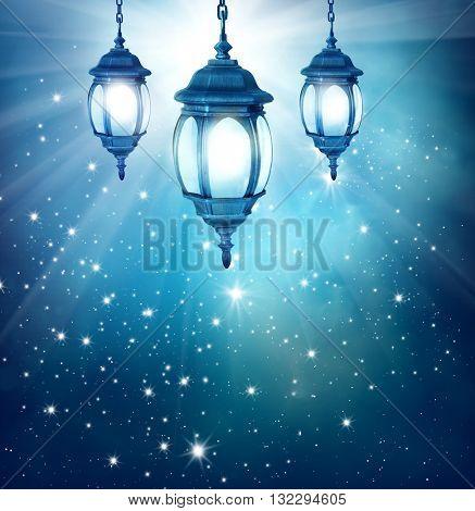 Ramadan Kareem background with arabic lantern