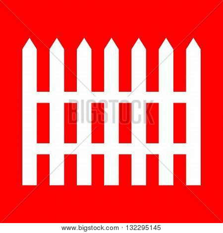 Fence simple sign. White icon on red background.