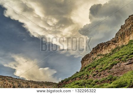 Dramatic clouds over sandstone cliffs near Fort Collins, Colorado