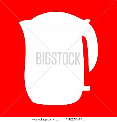 Electric kettle sign. White icon on red background.